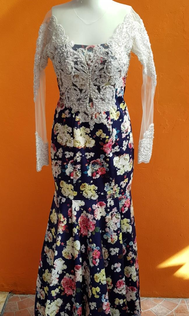 Dress brukat payet bunga biru