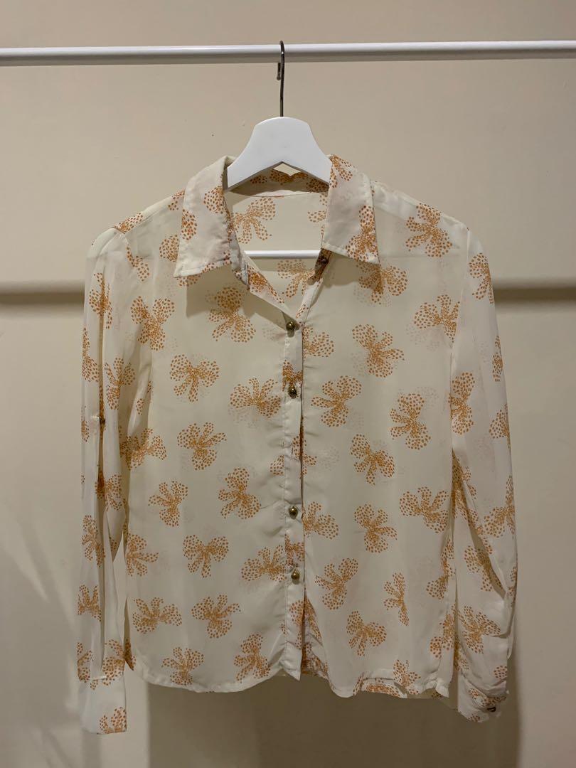 Flower See Through Long Sleeve Chiffon Shirt