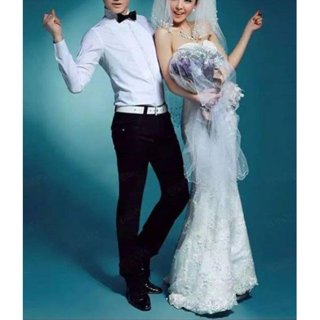 gaun mermaid bunga freeveil - gaun prewedding - gaun pengantin -baju pengantin simple modernslim fit