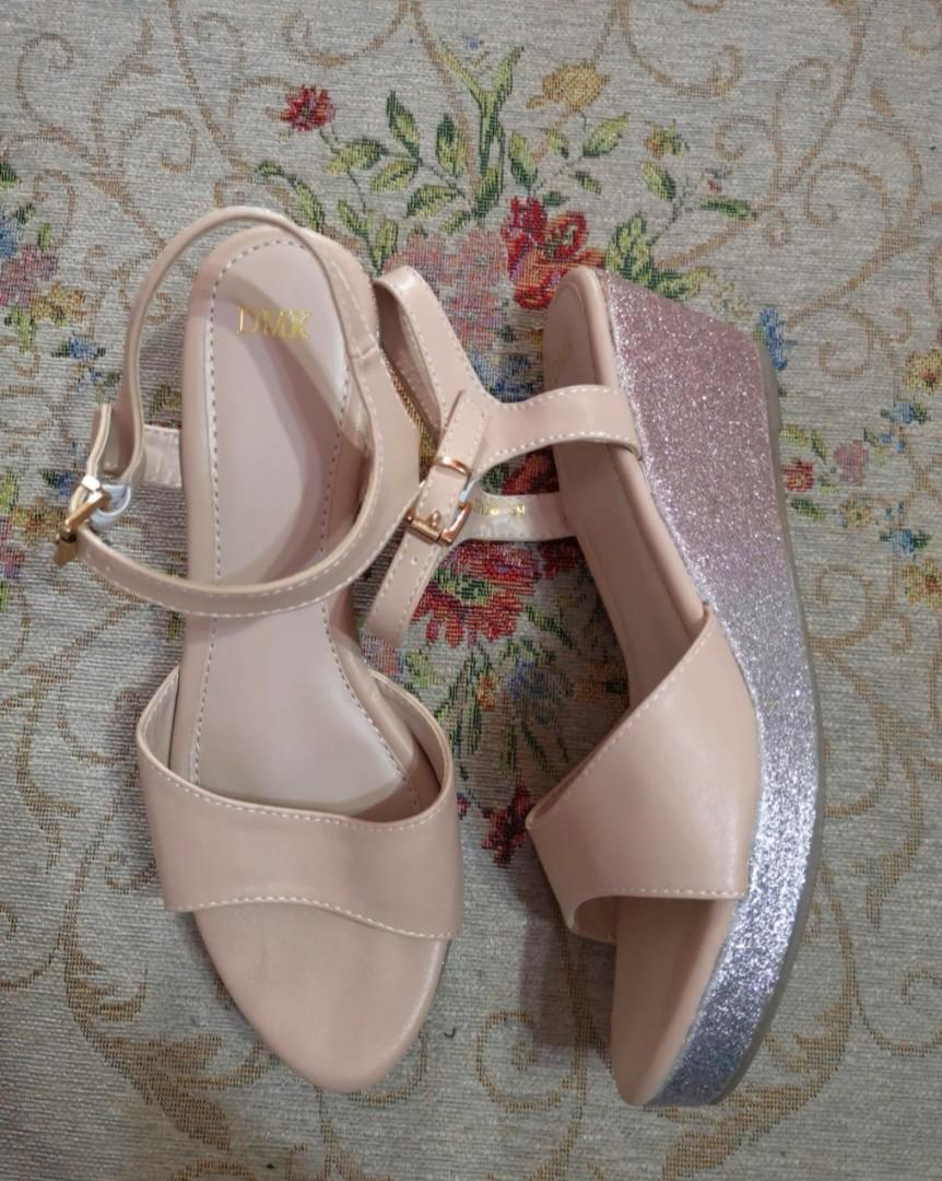 Glitter Nude Wedges