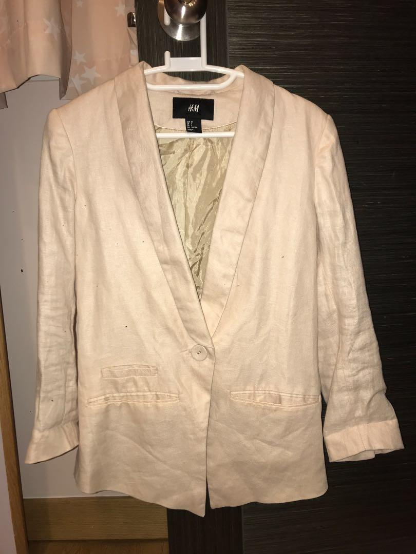 H&M 西裝褸(nude/ baby pink)