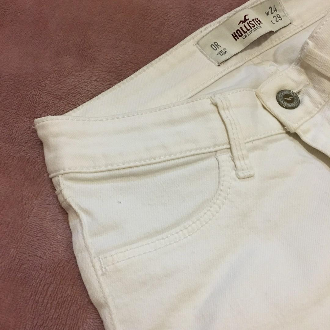 Hollister low rise white denim jeans