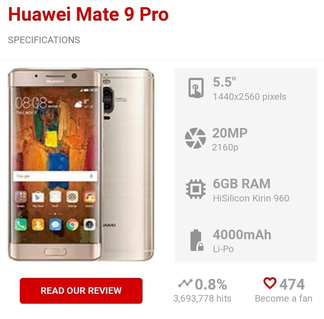 Huawei Mate 9 Pro - Leica camera twin lens