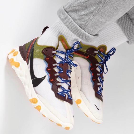 Por adelantado guisante Cordelia  In Stock* US7.5~12 Nike react element 87 moss-black-el, Men's Fashion,  Footwear, Sneakers on Carousell