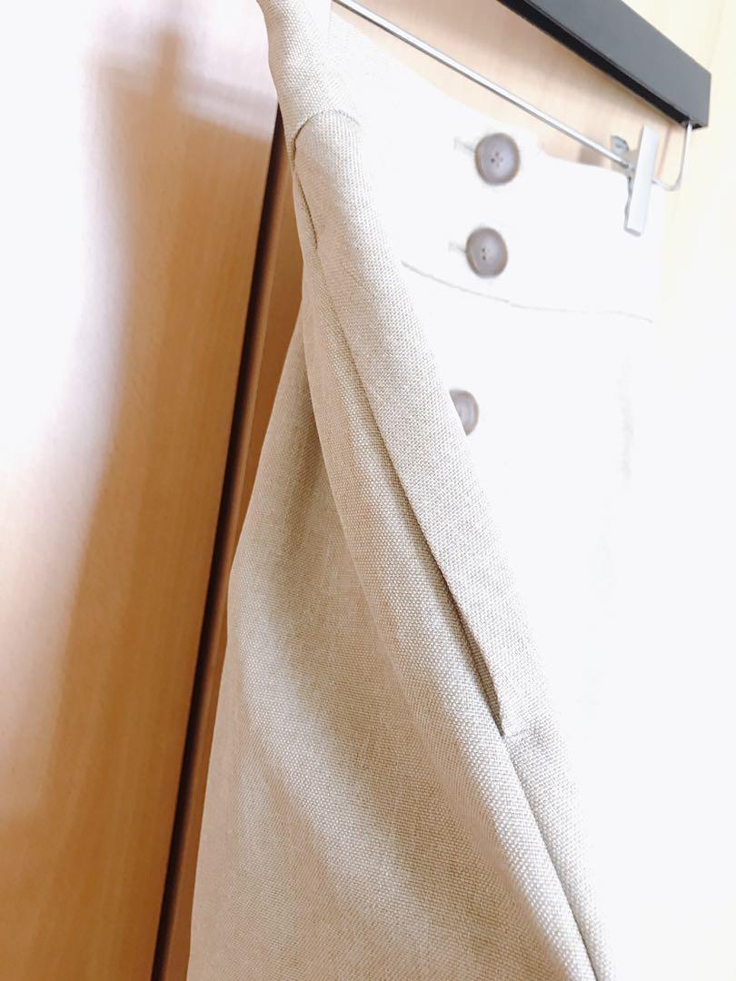 Japan GU woman silm fit pocket beige split high waist button midi skirt dress blouse top shop zara maje sandro mango asos club monaco asos river island new look日本新款超靚麻布杏色鈕扣開叉 高腰顯瘦半截裙 中長裙 a字裙 襯衫