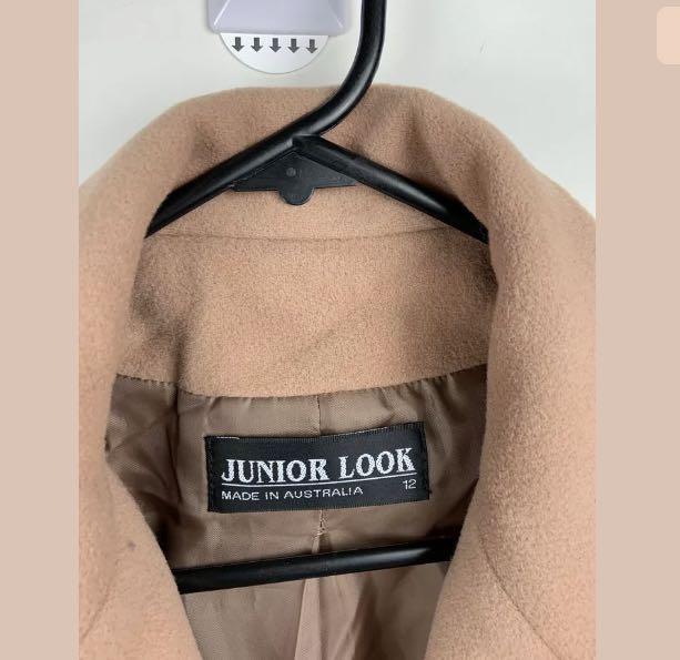 Junior Look sz 12 Cashmere wool blend brown camel women long coat jacket winter