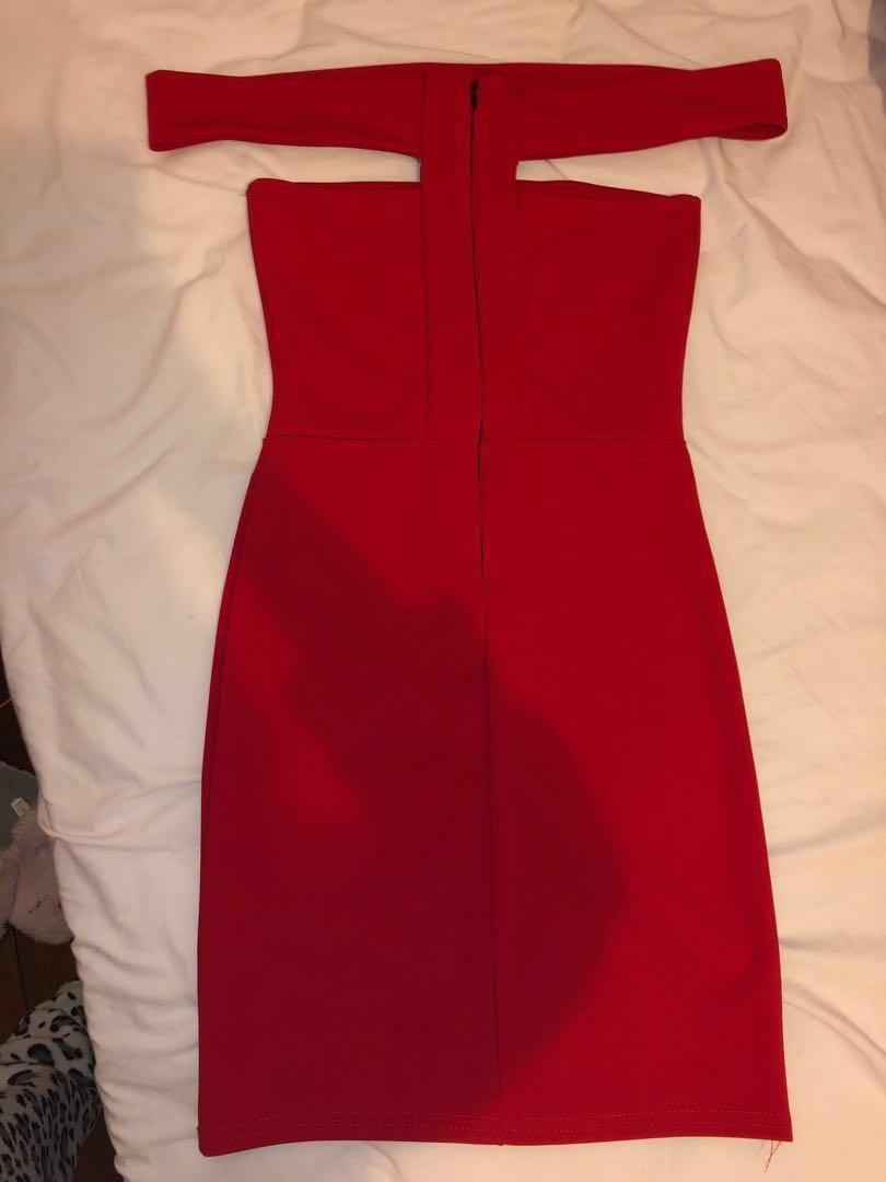 Kylie Jenner inspired cut out shoulder dress - red