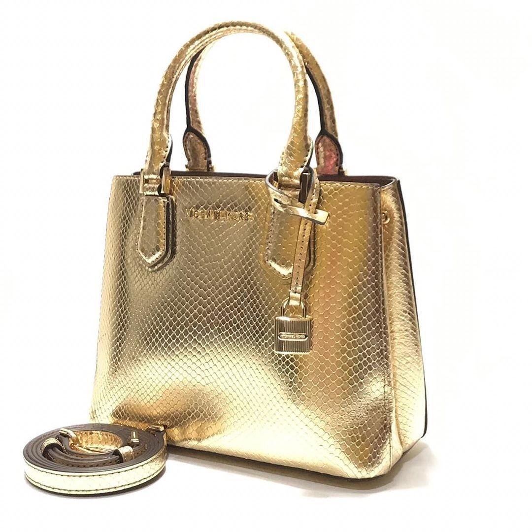 MK Adele Medium Messenger Embossed (Pale Gold-Dark Khaki) size 23-21x18,5x11cm