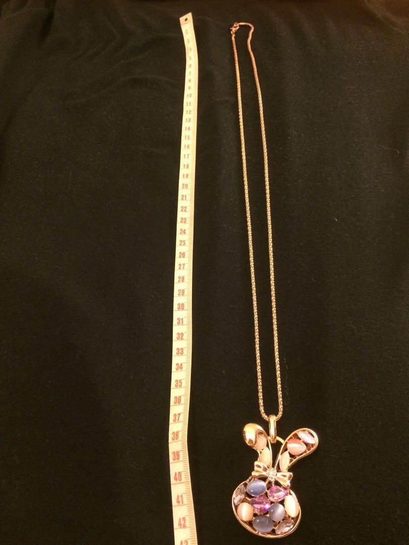 Multi Colored Stoned Golden Rabbit Pendant Long Necklace #MTRcentral #MTRtw