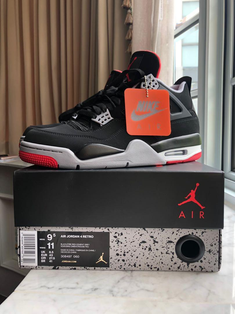 check-out 9113a b7faf Nike Air Jordan 4 Breds US9.5, Men's Fashion, Footwear ...