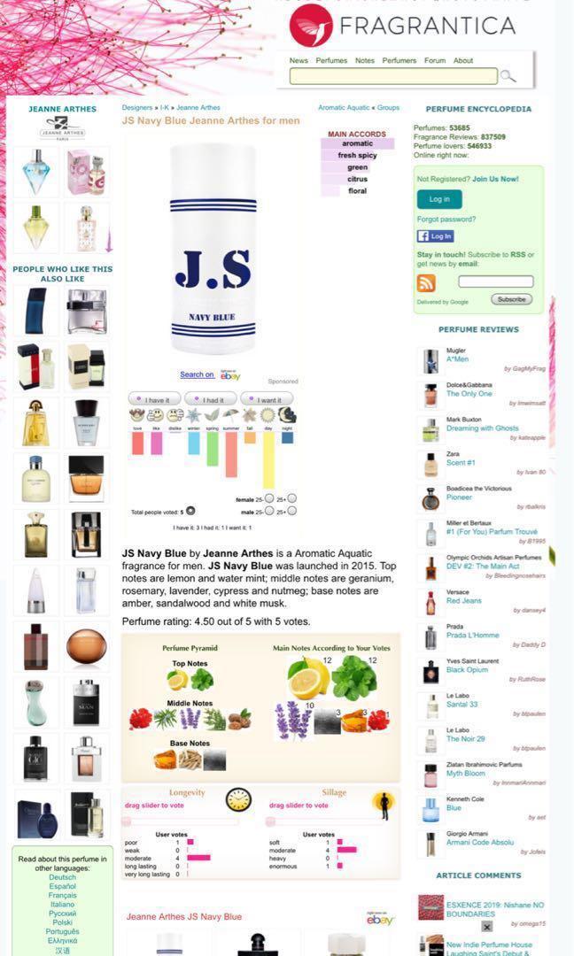 Original JS Navy Blue Jeanne Arthes Men Perfume
