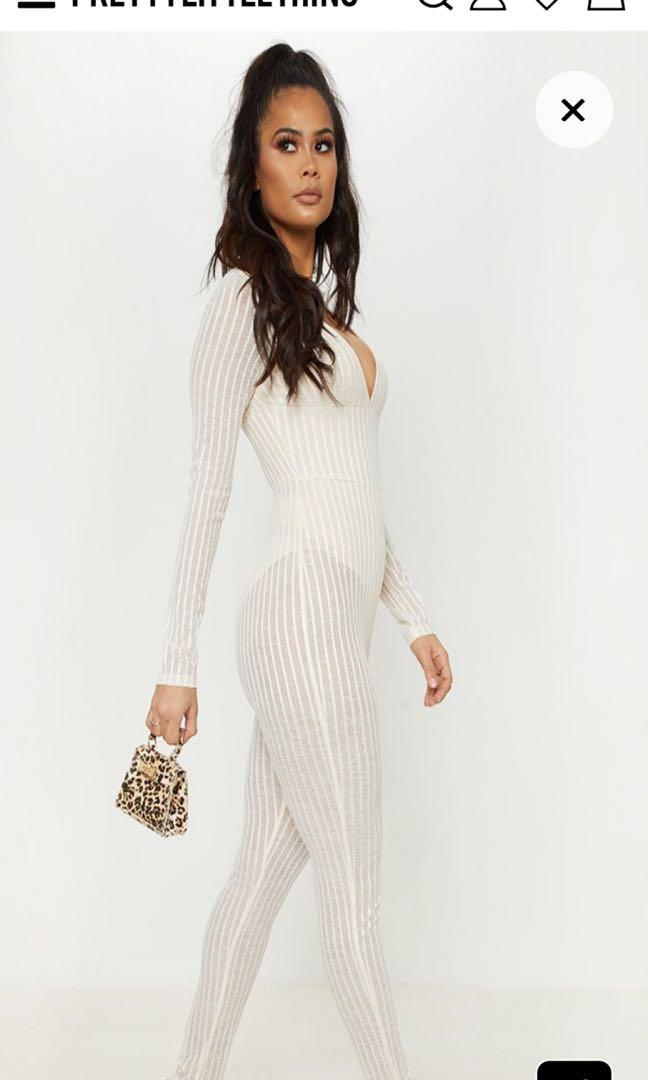 Pretty little thing nude striped mesh sheer jumpsuit
