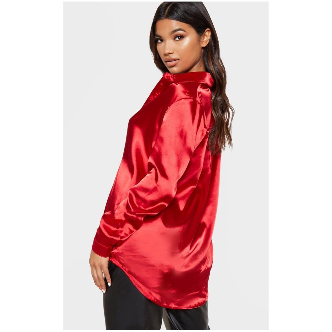 PrettyLittleThing RED SATIN OVERSIZED BUTTON FRONT SHIRT - XS