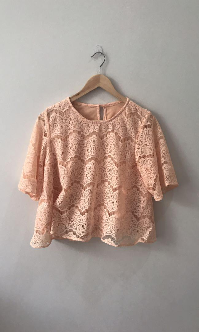 #ramadansale Orange Pastel Embroidered Top