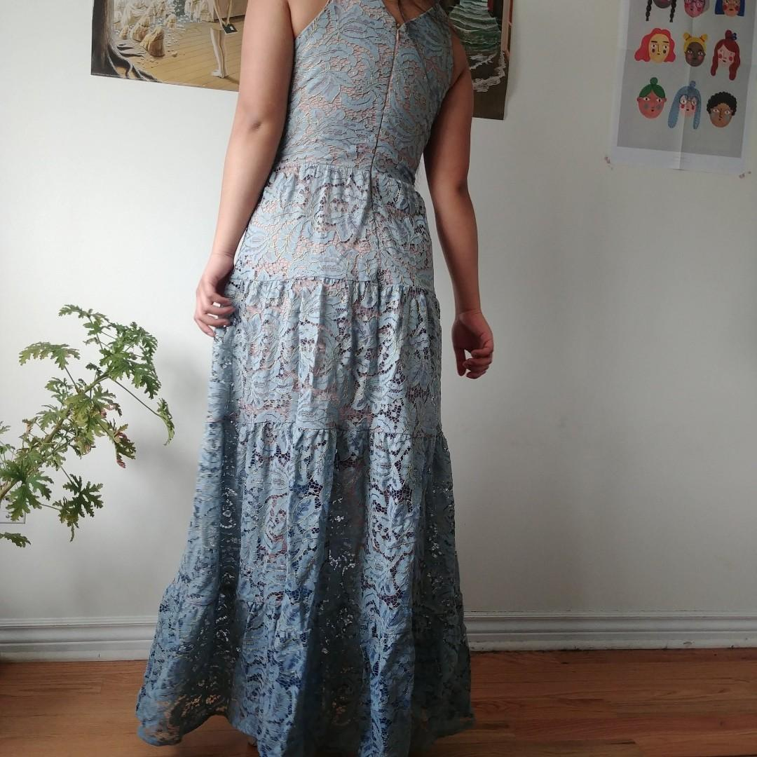stunning blue with gold detailing lace dress from dress the population