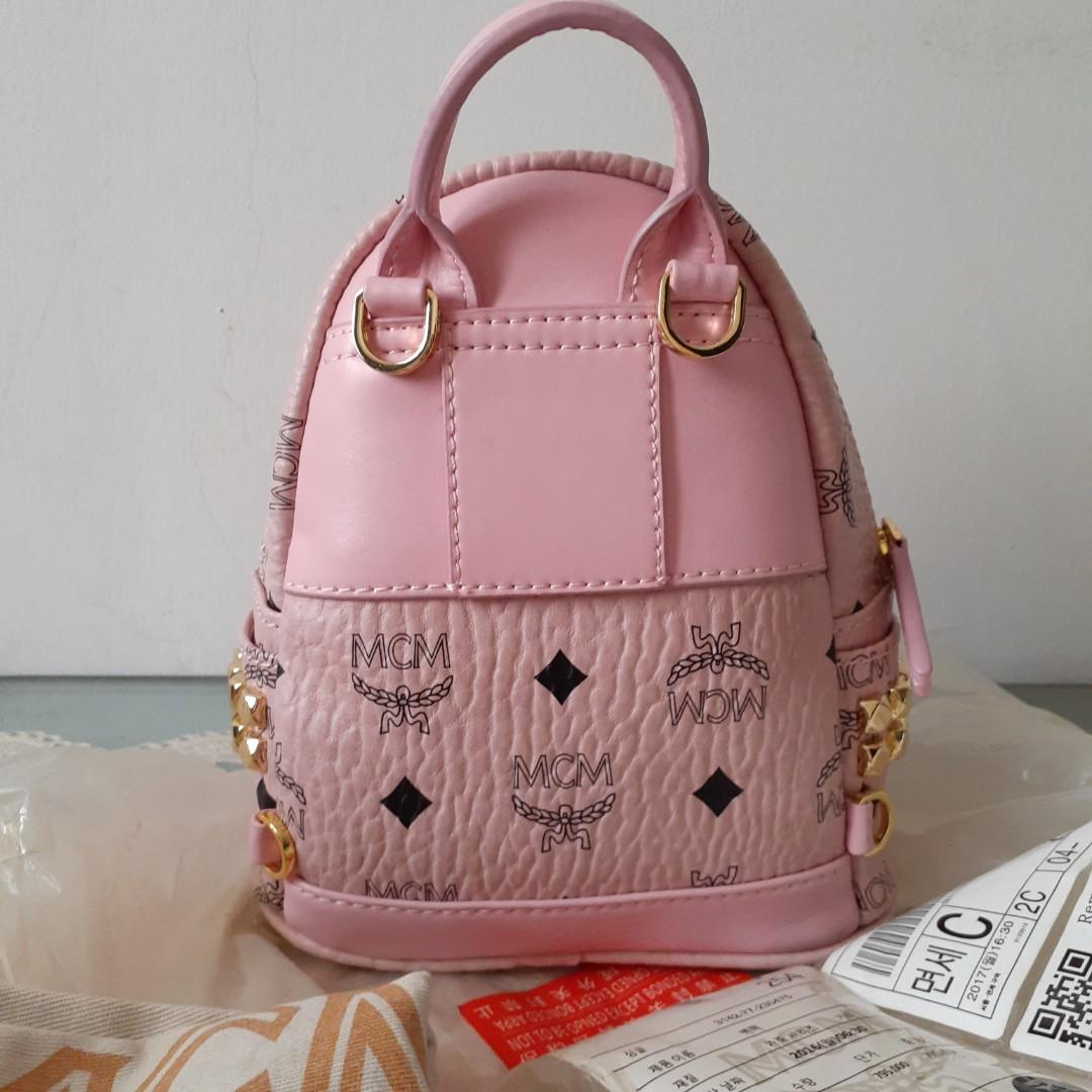 Tas mini backpack ransel MC*M bebeboo pink