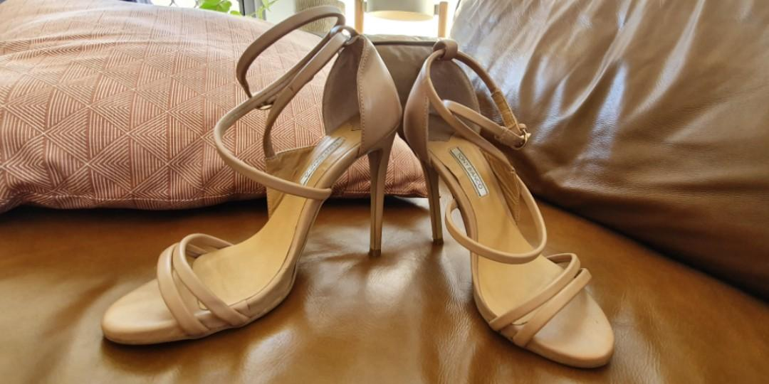 "Tony Bianco Nude Leather ""Alita"" Strappy Stiletto Heels - Size 6.5 - RRP $170"