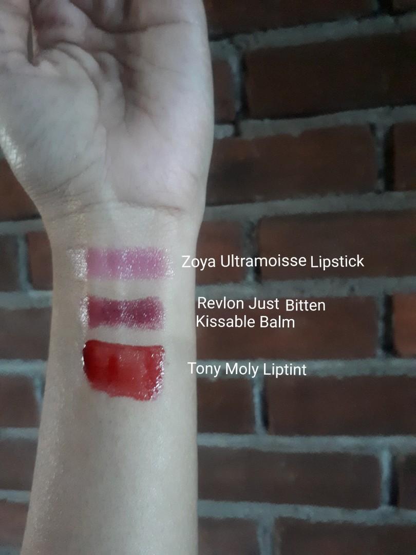 Tony Moly Liptint, Revlon Just Bitten Kissable Balm, & Zoya Ultramoisse Lipstick