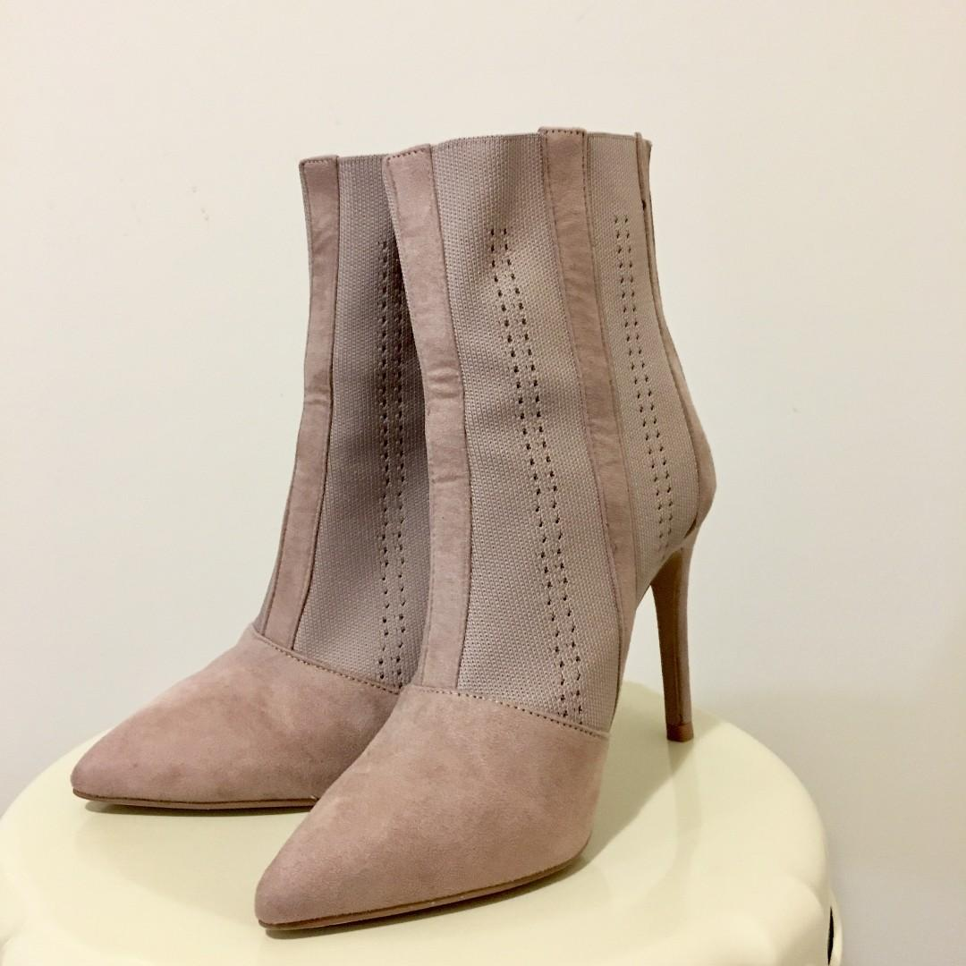 Truffle Collection Knitted Stilletto Ankle Boots pink mauve