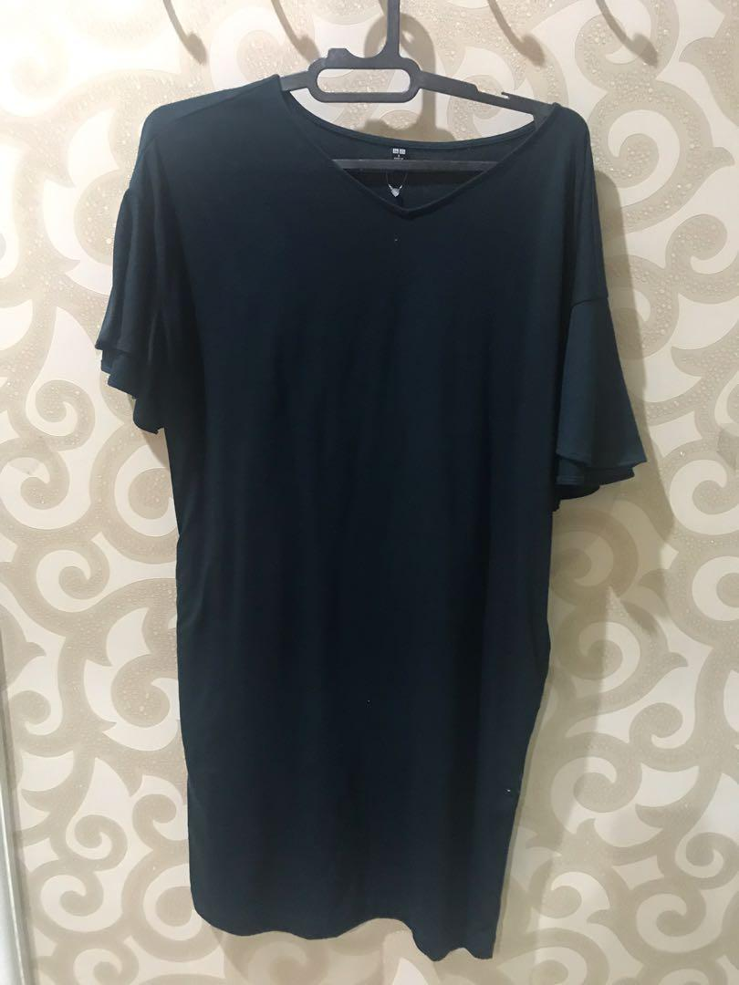 Uniqlo dark green cotton dress