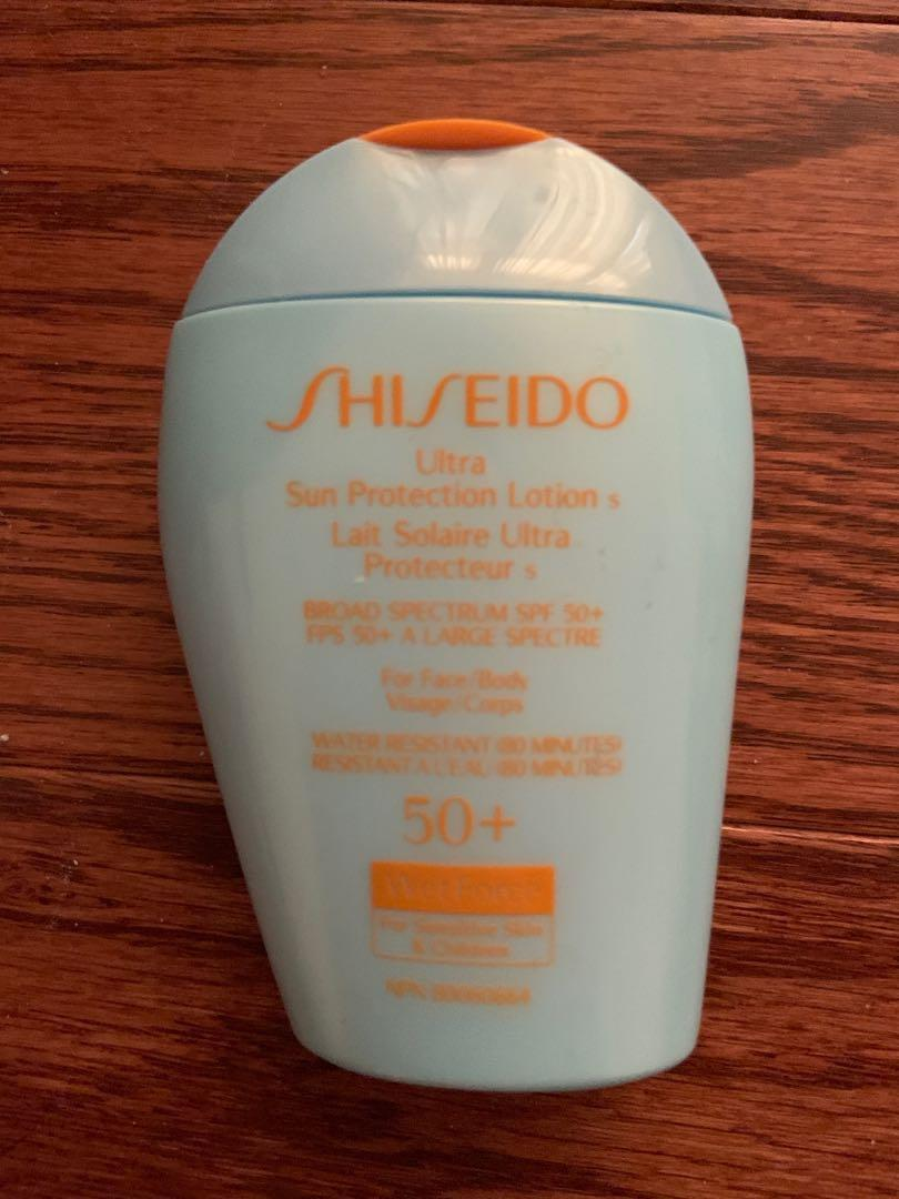 Used once. Shiseido sun protection spf 50+ water resistant 80 mins