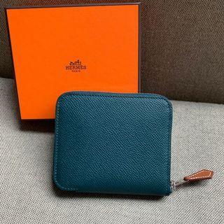 Hermes Silk in compact 6O 深綠色 短銀包