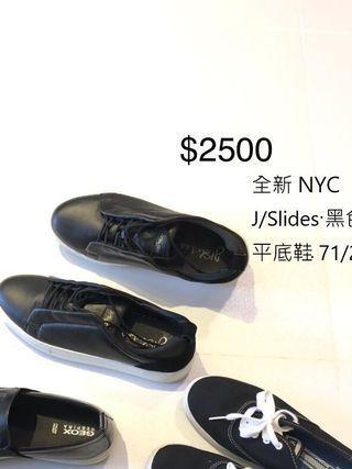 美國J/slide 黑色真皮平底鞋