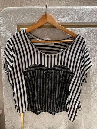Lace heart bustier stripe top