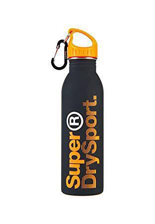 🚚 SuperDry Steel Sports Water Bottle Black / Orange