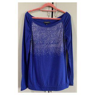 Baby Phat Blue Long Sleeves Top with Diamontes