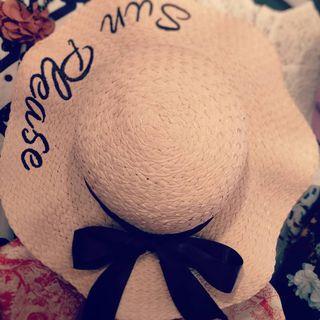 粉色後絲帶蝴蝶結籐帽