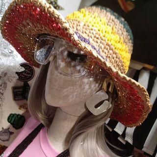 併色圈圈籐帽