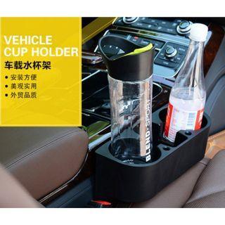 多功能 車用杯架 車縫收納盒 水杯架 手機架 可插筆