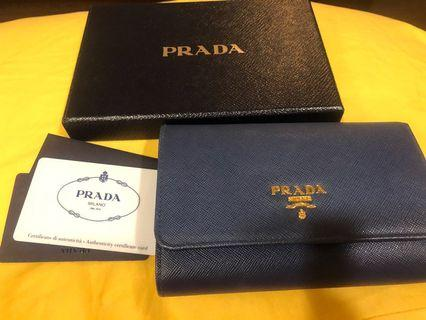 🚚 Prada Saffiano Metal Medium Wallet in Bluette