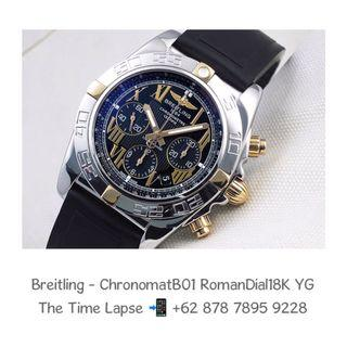 Breitling - Chronomat B01 Roman Dial Steel & 18K Yellow Gold with Rubber Strap