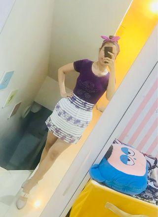 Set rok mini putih cantik + kaos ungu