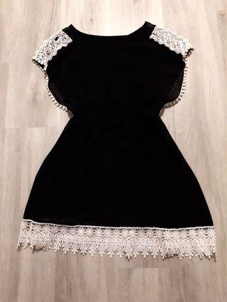 Black Dress with Crocheted Trims