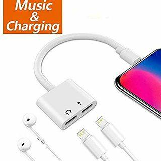 A263 - Adapter and Splitter for iPhone 7/7 Plus/8/8 Plus/X/Xs, 2 in 1 Headphone Jack Aux Audio & Charger Adapter Cable at The Same time Data Sync Call Function (White)