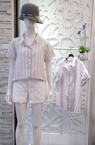 #時裝彩虹直條配色蕾絲領襯衫