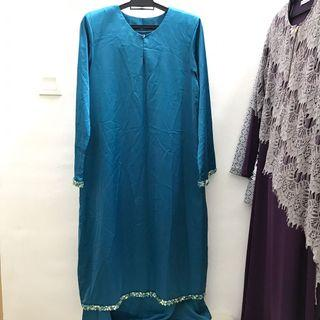 Modern Kurung Emerald Blue - Satin (with beadings)