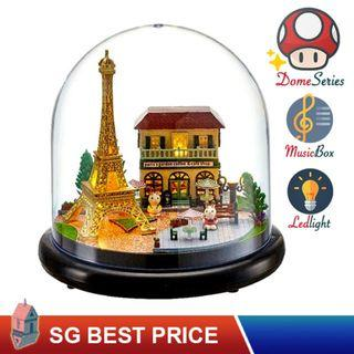 🚚 ❤️(SG BEST) UPGRADED Dome DIY Dollhouse with LED, Music Box and Dust Cover: Romantic Paris (2018) – CUTE ROOM Doll House 智趣屋: 浪漫巴黎 [BEST PRICE GUARANTEED – LITTLEBUILDERS CUTEROOM TOGETHER AROUND SERIES ARCHITECTURE PUZZLES 一起环游系列 – IDEAL GIFT]