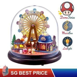 🚚 ❤️(SG BEST) UPGRADED Dome DIY Dollhouse with LED, Music Box and Dust Cover: Ferris Wheel (2023) – CUTE ROOM Doll House 智趣屋: 幸福吧摩天轮 [BEST PRICE GUARANTEED – LITTLEBUILDERS CUTEROOM TOGETHER AROUND SERIES ARCHITECTURE PUZZLES 一起环游系列 – IDEAL GIFT]