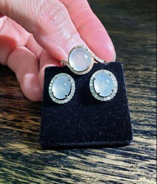 18k金 冰種鑽石套裝 戒指38粒~共38份17號圈口 耳環42粒~共45份