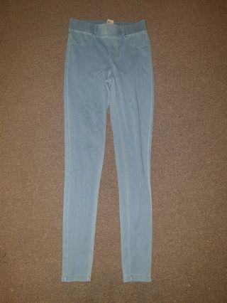 Blue High Waist Denim Leggings Pants Jeggings Size 8 As New