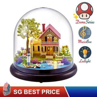 🚚 ❤️(SG BEST) UPGRADED Dome DIY Dollhouse with LED, Music Box and Dust Cover: Spring Florid (2021) – CUTE ROOM Doll House 智趣屋: 春日花语 [BEST PRICE GUARANTEED – LITTLEBUILDERS CUTEROOM TOGETHER AROUND SERIES ARCHITECTURE PUZZLES 一起环游系列 – IDEAL GIFT]