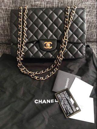 🚚 Chanel coco 30 黑金羊皮口蓋包肩背包 jumbo可參考