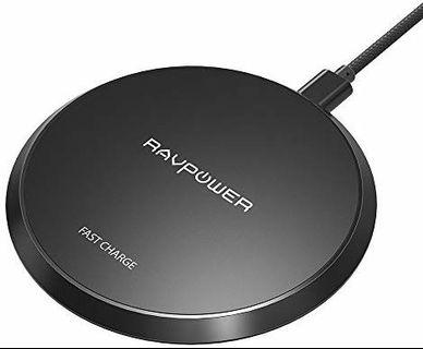 A269 - Wireless Charger RAVPower Qi Certified 10W Fast Wireless Charging Pad for Galaxy S9+ S9 Note 8, Compatible iPhone X 8 Plus 8 and All Qi-Enabled Phones (NO Adapter)