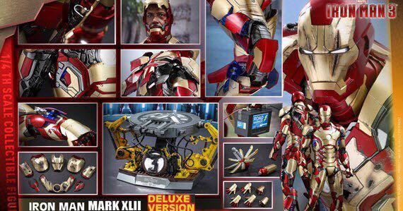 豪華版1:4hot toys iron man mark 42 deluxe 特別版1/4