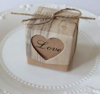 10pcs Vintage Heart Kraft Candy Box Wedding Gifts for Guests with Rustic Burlap Twine Decoration Wedding Party Favors Supplie