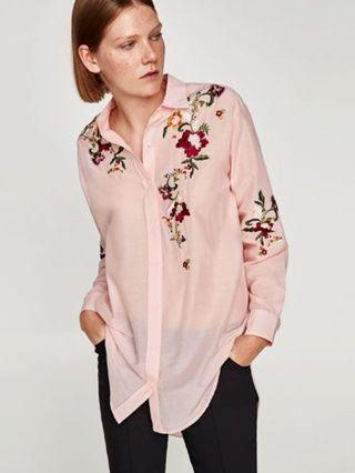 Zara embroidered silk top